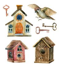 Retro Birdhouses And Keys. Three Cute Rustic Birdhouses
