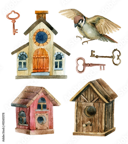 Retro birdhouses and keys. Three cute rustic birdhouses Wallpaper Mural