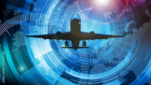 fototapeta na drzwi i meble samolot tło wektor