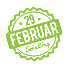 Schalttag 29 Februar Stempel German Green On A White Background.