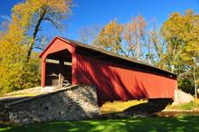 Goodville, Pennsylvania - October 19, 2015: Single Span, Double Burr Arch Truss 1859 Pool Forge Covered Bridge Over The Conestoga River *
