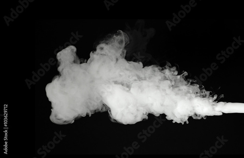 Deurstickers Rook white smoke cloud on black background