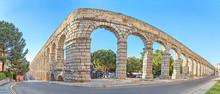 Corner Of Ancient Roman Aqueduct In Segovia
