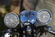 Classic British bike instruments on a vintage motorcycle