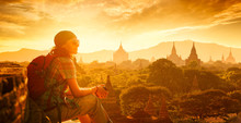 Woman Backpacker Sit On Sunset...