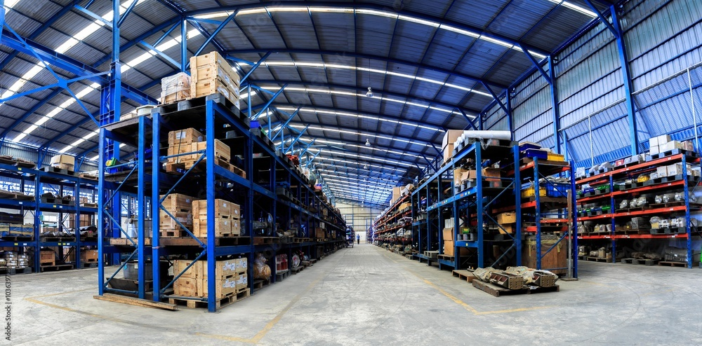 Fototapeta Industrials warehouse for distribution and storage