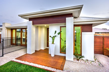 Modern House Entrance With A W...