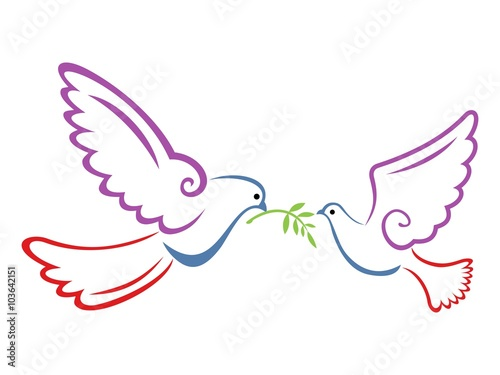 Foto  Peace Dove Couple Color