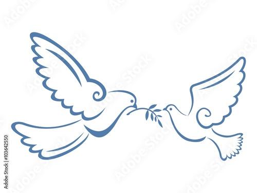 Peace Dove Couple Blue Color Canvas