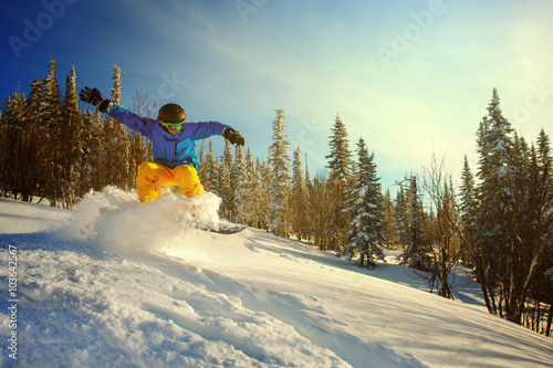 Fotografiet  Snowboarder jumping through air with deep blue sky in background