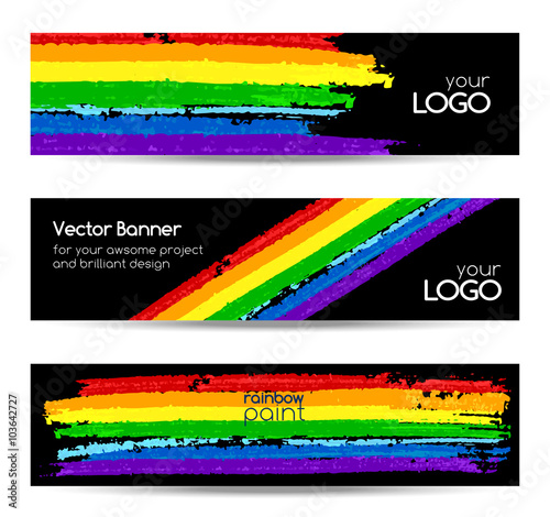 Foto  Set of vector banners with rainbow colors paint