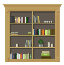 Classic Wall Panels And A Bookcase In An Interior Room, Vector Graphics