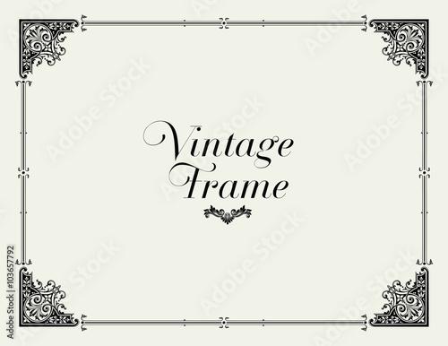 Fotografía  Vintage Ornament Border. Decorative Floral Frame Vector.