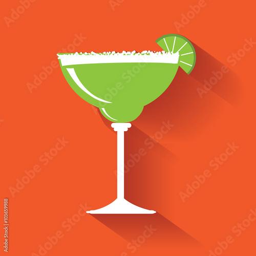 Fotografie, Obraz  Margarita flat design icon. EPS 10 vector.