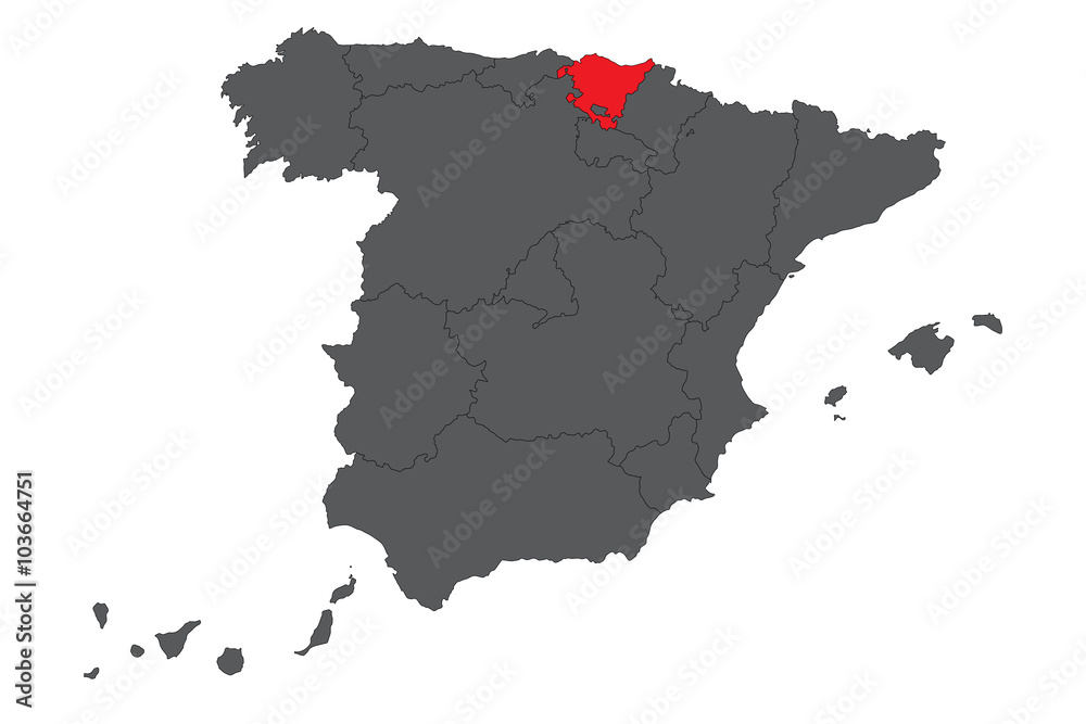 Country Of Spain Map.Photo Art Print Basque Country Red Map On Gray Spain Map Vector
