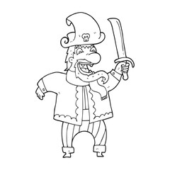 black and white cartoon laughing pirate captain