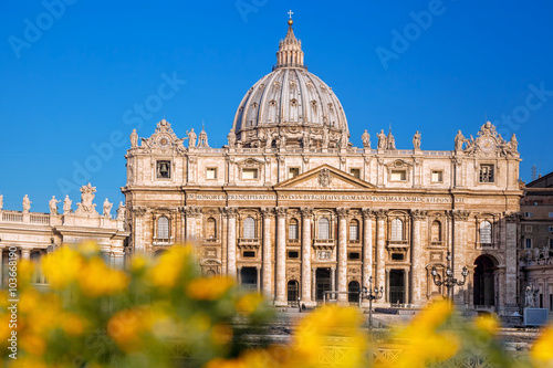 Basilica of Saint Peter in the Vatican with spring flowers, Rome, Italy Canvas Print