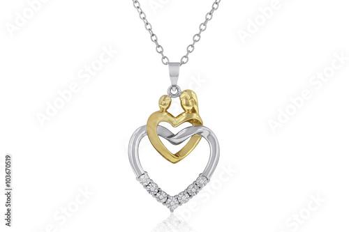 Foto  Schöne zwei-Toned Mutter & Kind Herz Halskette mit weißen Diamanten