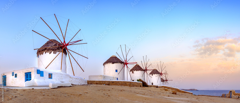Fototapeta Traditional greek windmills on Mykonos island, Cyclades, Greece