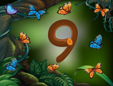 Number Nine With 9 Butterflies...