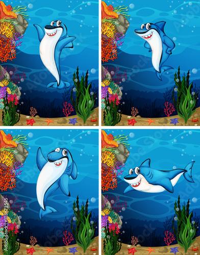 Recess Fitting Submarine Shark swimming under the sea
