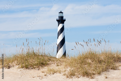 Photo sur Toile Phare Cape Hatteras Lighthouse seen from beach NC USA