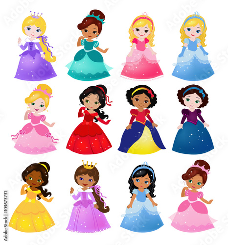 Fotografie, Obraz  Big Bundle cute collection of beautiful princesses