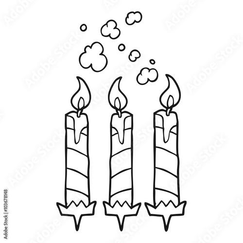 Black And White Cartoon Birthday Cake Candles Acheter Ce Vecteur