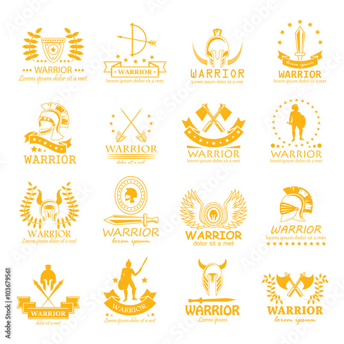Photo  Warrior Icons Set - Vector Illustration