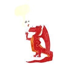 Retro Speech Bubble Cartoon Happy Dragon
