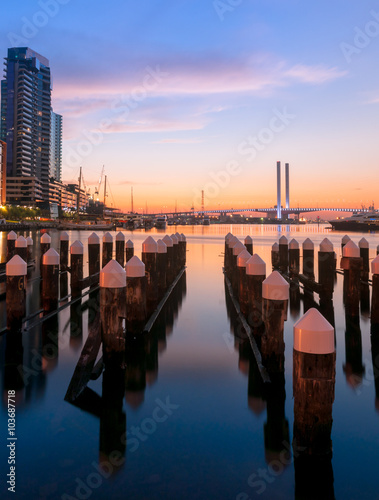 Fotografie, Obraz  Colorful twilight at Docklands harbour of Melbourne