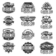 Vector Car Logo Set, Retro Car...