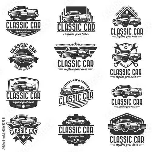 Vector car logo set, retro car logo template