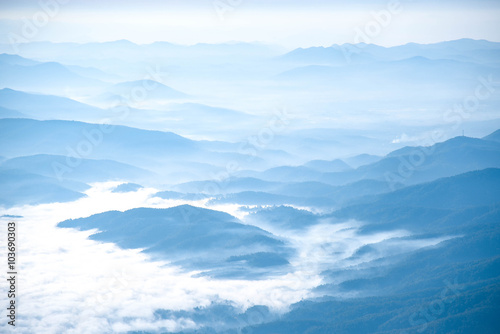 Printed kitchen splashbacks Light blue Beautiful layers of mountain landscape