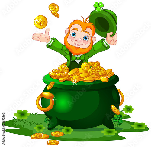 Printed kitchen splashbacks Fairytale World Leprechaun and Pot of Gold