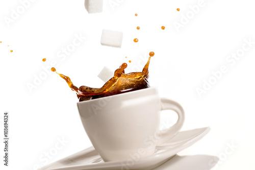 Poster Café en grains Cup of coffee splash