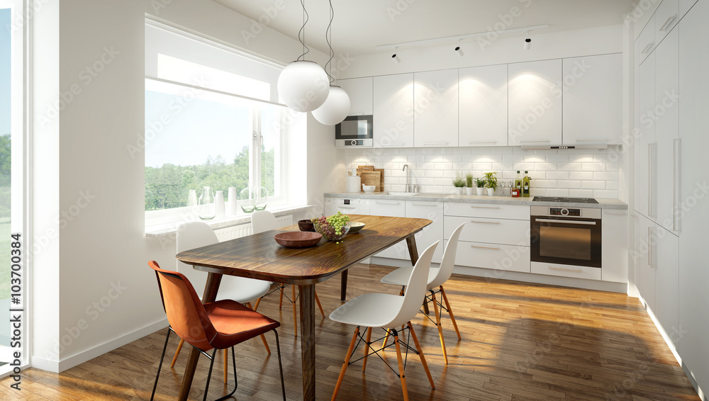 Fototapety, obrazy: 3D rendering of a modern light colored kitchen