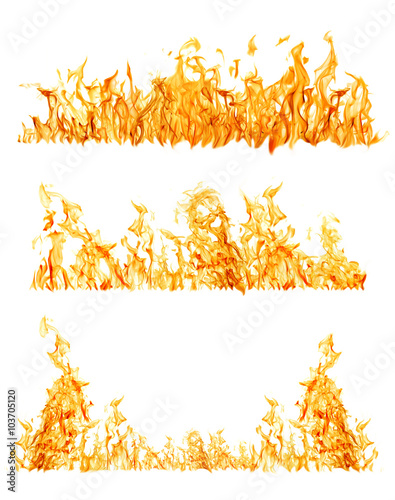 Fotobehang Vuur set of three orange flame strips on white