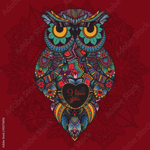 ilustracja-ozdobnych-sowa-ptak-zilustrowany-w-plemieniu-boho-sowa-z-miloscia-serce-na-walentynki