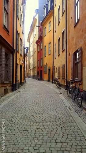 Poster Stockholm Narrow medieval street in old town of Tallinn, Estonia
