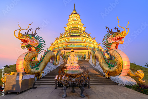 Wall Murals Place of worship Wat Hyua Pla Kang, Chinese temple in Chiang Rai Thailand, This is the most popular temple in Chiang Rai.