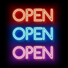 Neon Word Entry Open