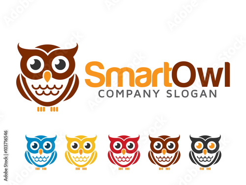 Poster Uilen cartoon Owl Logo