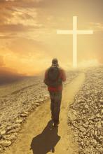 Man Walking To The Cross