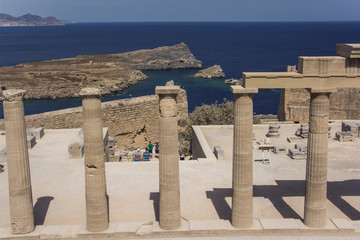 Fototapeta Rhodos, Lindos, Propyläen der Akropolis.