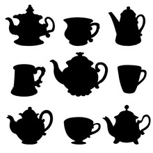 Set Isolated Black Silhouette Kettles, Teapots, Cups