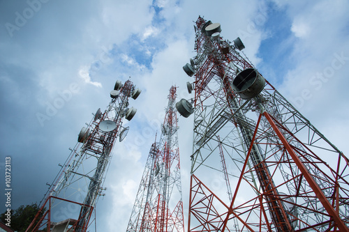 Fotografie, Tablou  .Telecommunication mast TV antennas