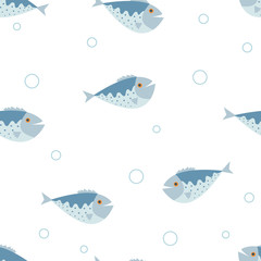 Panel Szklany Marynistyczny The seamless vector pattern with the blue fishes