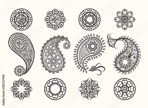 Fototapeta Henna tatoo paisley icons set