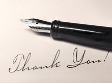 Fountain Pen And Paper With Thank You Writing